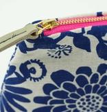 Erin Flett Zip Linen Makeup Bag Wild Garden Navy