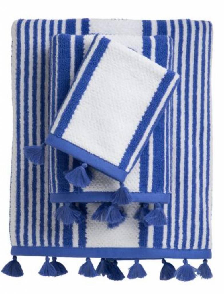 Caro Home Towel Stripes White Blue