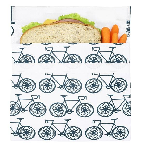 3greenmoms Reusable Sandwich Bag Charcoal Bicycle (Velcro)