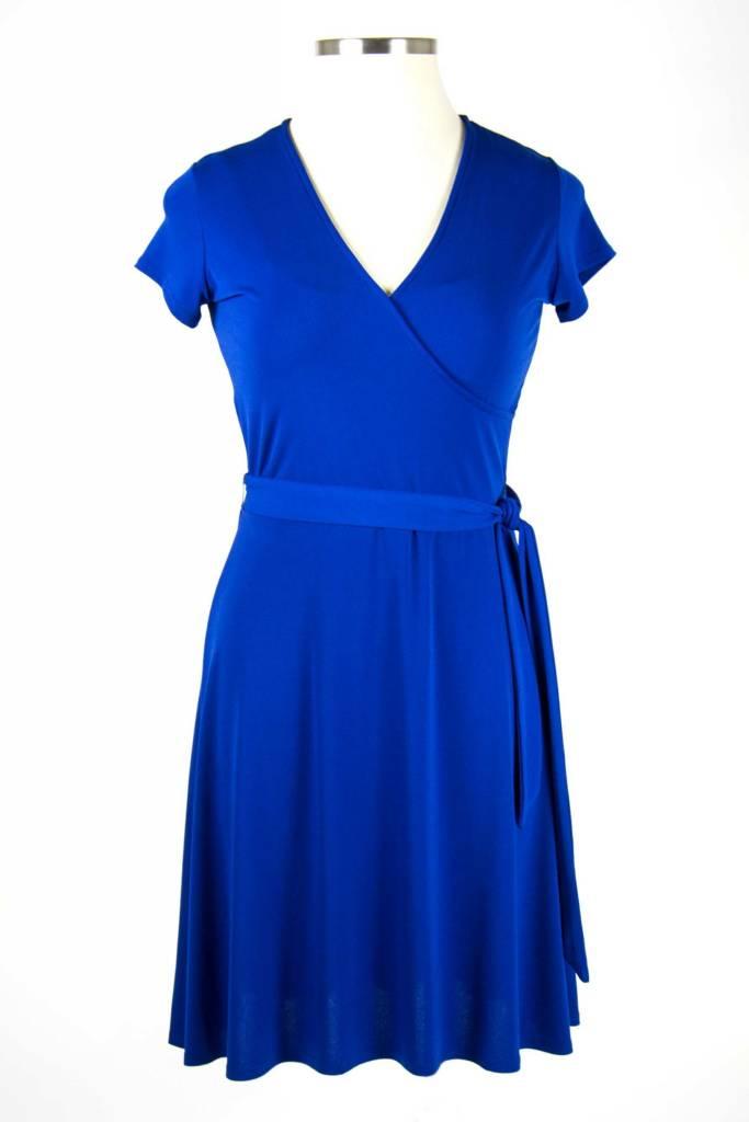 Leota Cap Sleeve Faux Wrap Dress Navy Crepe