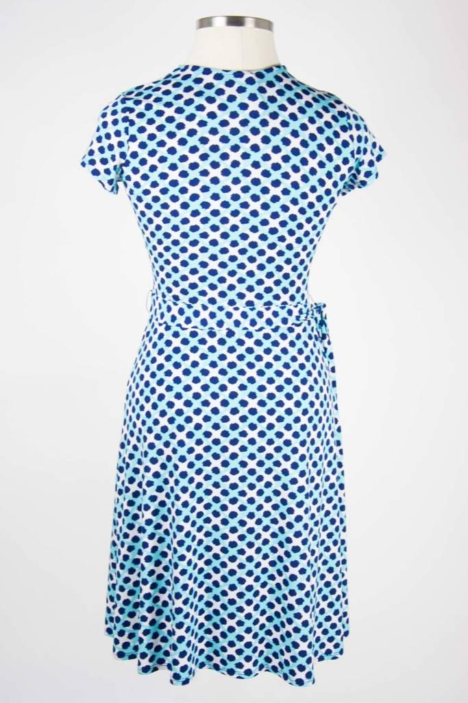 Leota Cap Sleeve Faux Wrap Dress Trellis Dot