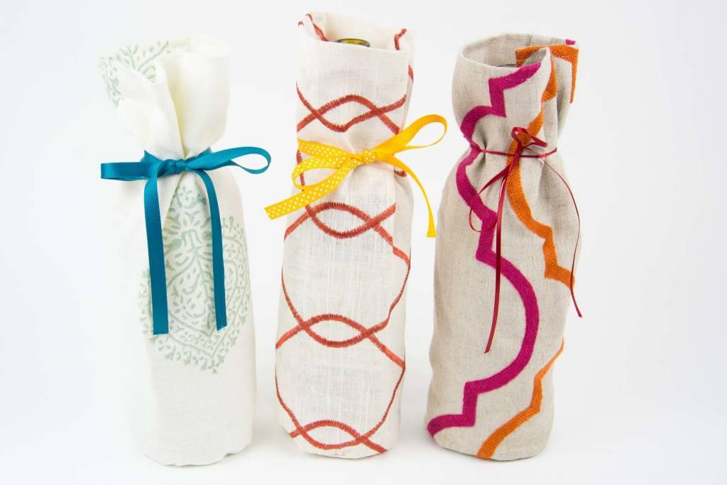 Kreatelier Bottle Gift Bag Orange Swirl