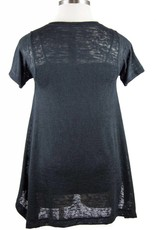 Nally and Millie V-Neck Short Sleeve Tunic Black