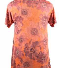 Nally and Millie Printed Orange V-Neck Multicolor