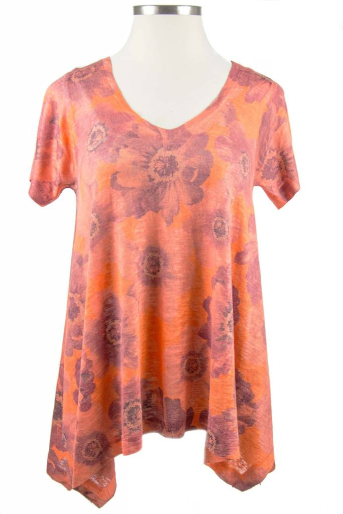 Nally and Millie Printed Orange V-Neck Multicolor