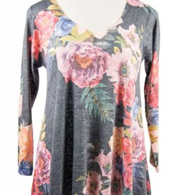 Nally and Millie Multicolor Printed Black Multi Flower V-Neck