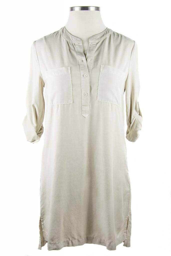 Side Stitch Pocket Mandarin Pullover Dress-Dusty Fawn