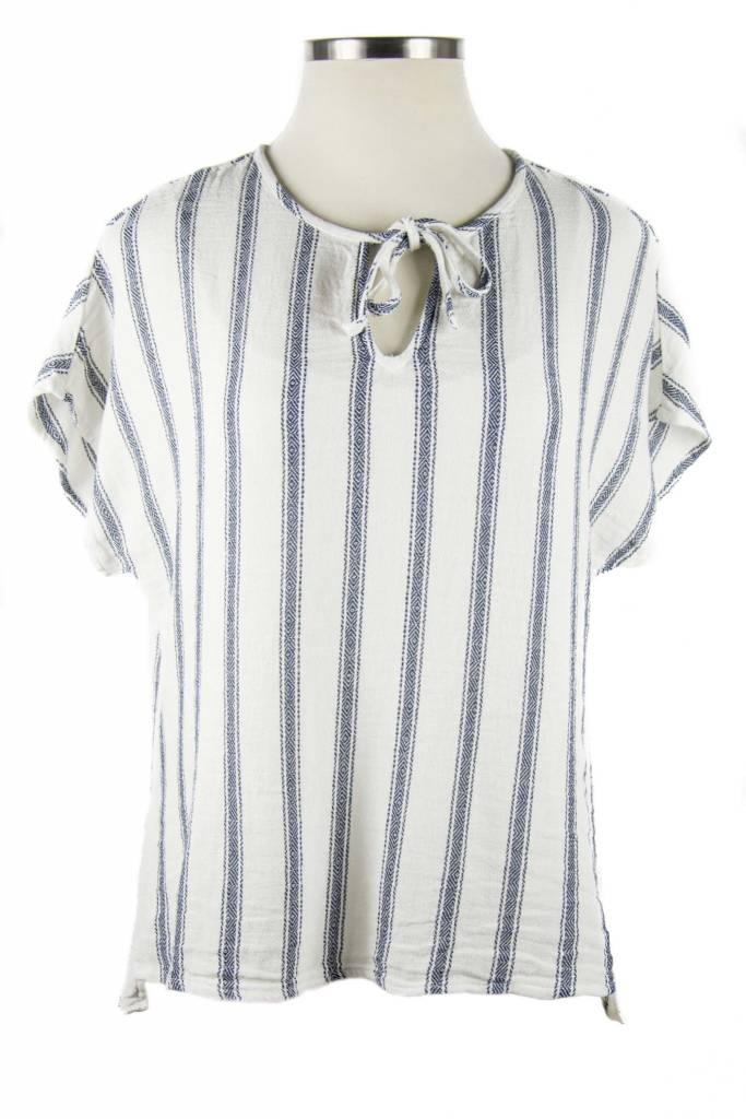 Side Stitch Tie Front Tee Blanket Stripe