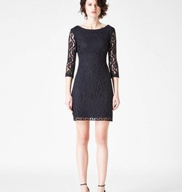Leota Lace Shift Dress in Black S/M