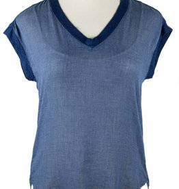 Side Stitch Knit to Woven Tank Luna Wash