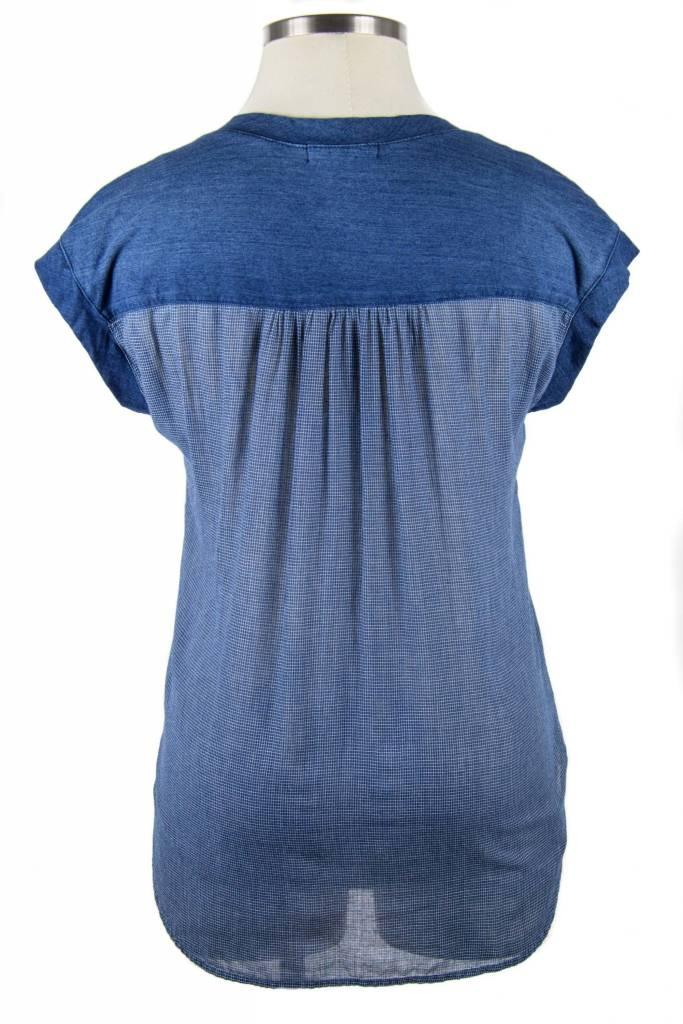 Side Stitch Knit to Woven Tank Luna Wash