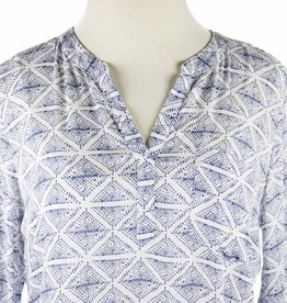 Side Stitch L/S Pocket Henley Suri Print