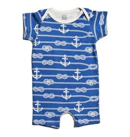 Winter Water Factory Summer Romper Ropes & Anchors Ocean Blue