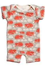 Winter Water Factory Summer Romper Foxes Grey & Orange 6M