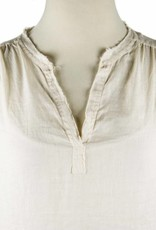 Side Stitch Frayed Collar Peasant Top Soft Satin