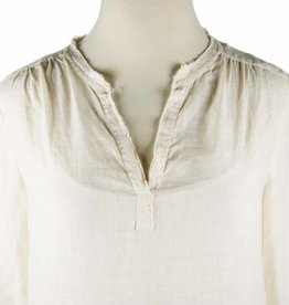 Side Stitch Frayed Collar Peasant Top Soft Satin