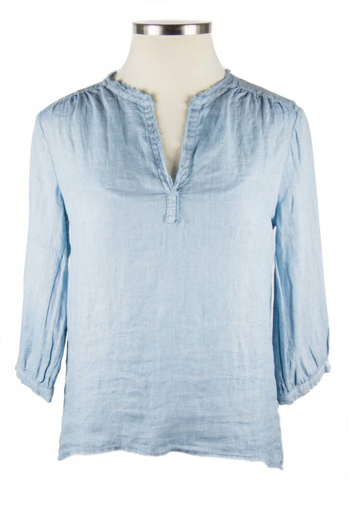 Side Stitch Frayed Collar Peasant Top Storm Cloud