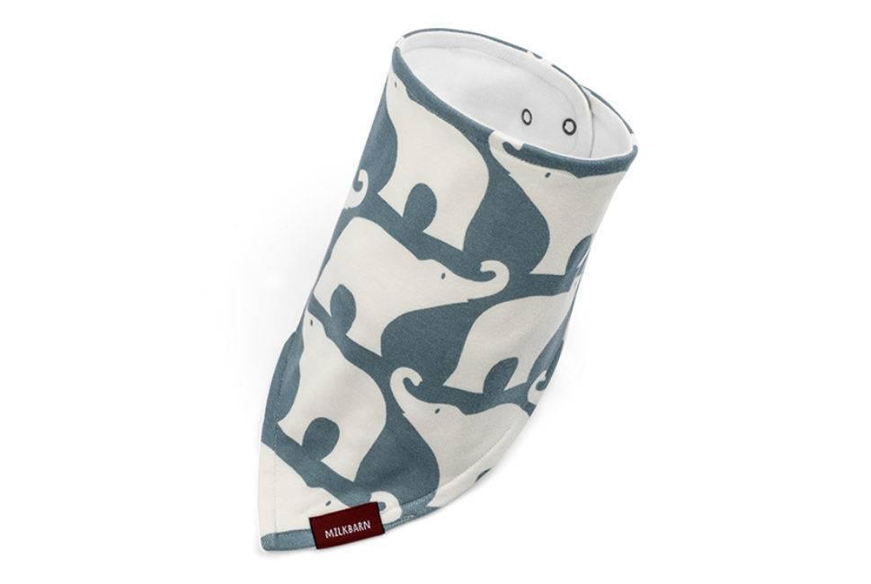 Milkbarn Kerchief Bib Blue Elephant