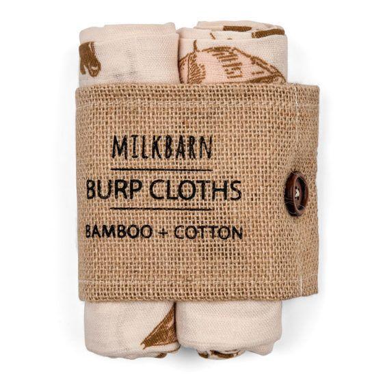 Milkbarn Burp Cloths Bamboo + Cotton Rose Flower