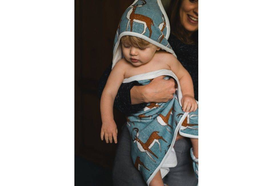 Milkbarn Hooded Towel Blue Buck