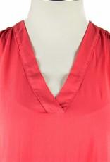 Side Stitch V-Neck Shirred Tank-Bright Crimson