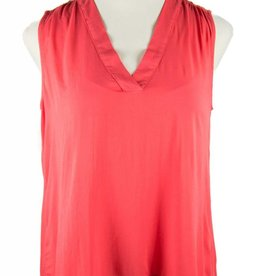 Side Stitch V-Neck Shirred Tank-Bright Crimson