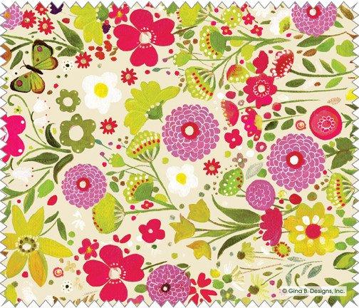 Gina B Designs Microfiber Cloth Pink and Green Mums