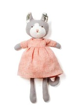 Hazel Village Stuffed Animal Gracie Cat Blush Linen Dress