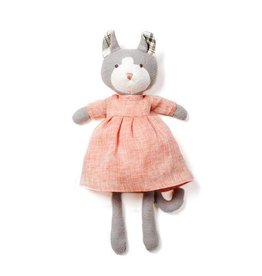 Hazel Village Stuffed Animal Gracie Cat Blush Linen Dress