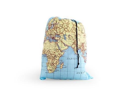 Kikkerland Travel Laundry Bag Maps