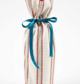 Kreatelier Bottle Gift Bag Blue Rust Stripes
