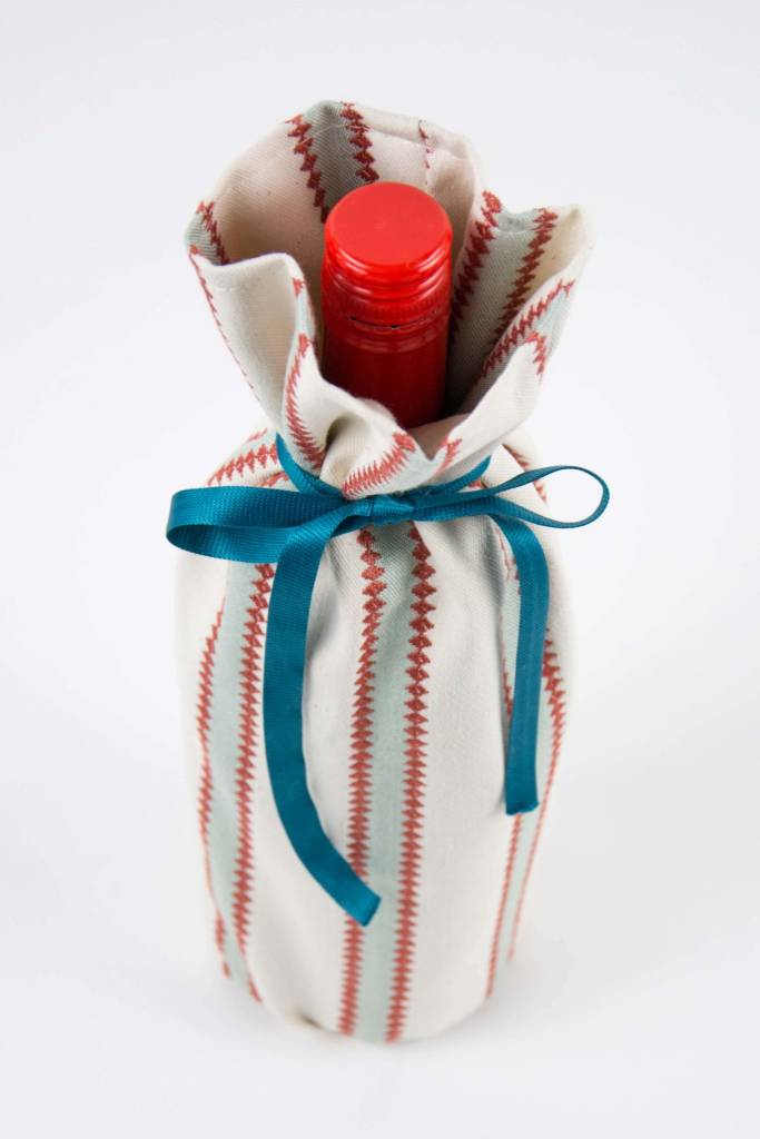 Kreatelier Bottle Gift Bag Blue Rust Stripes