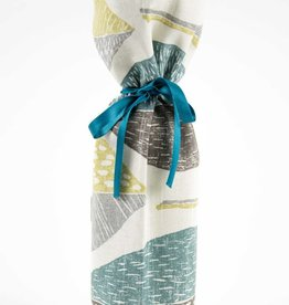 Kreatelier Bottle Gift Bag Petrol Blue Leaves