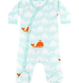 Carley Barley Footie Orange Whale