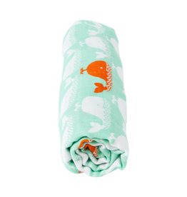 Carley Barley Swaddle Blanket Orange Whale