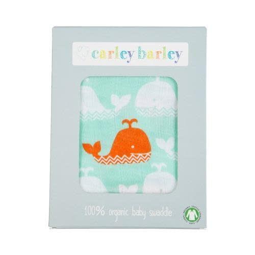 Carley Barley Swaddle Blanket Orange Whale