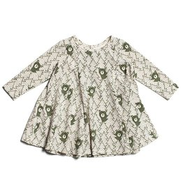 Winter Water Factory Mia Princess Baby Dress Bears Forest Green
