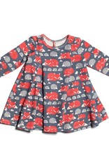 Winter Water Factory Mia Princess Baby Dress Foxes & Hdg Slate Blue/Orange