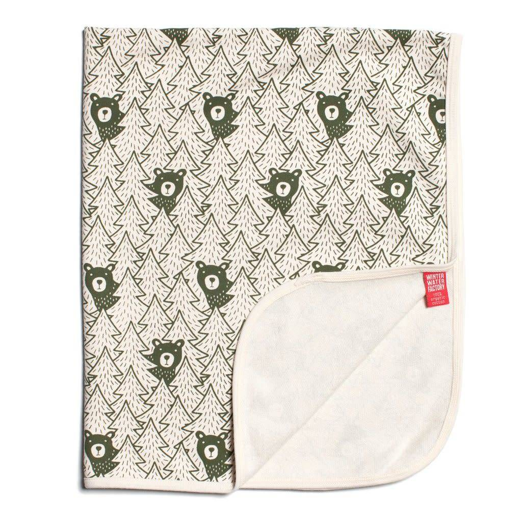 Winter Water Factory French Terry Blanket Bears Forest Green