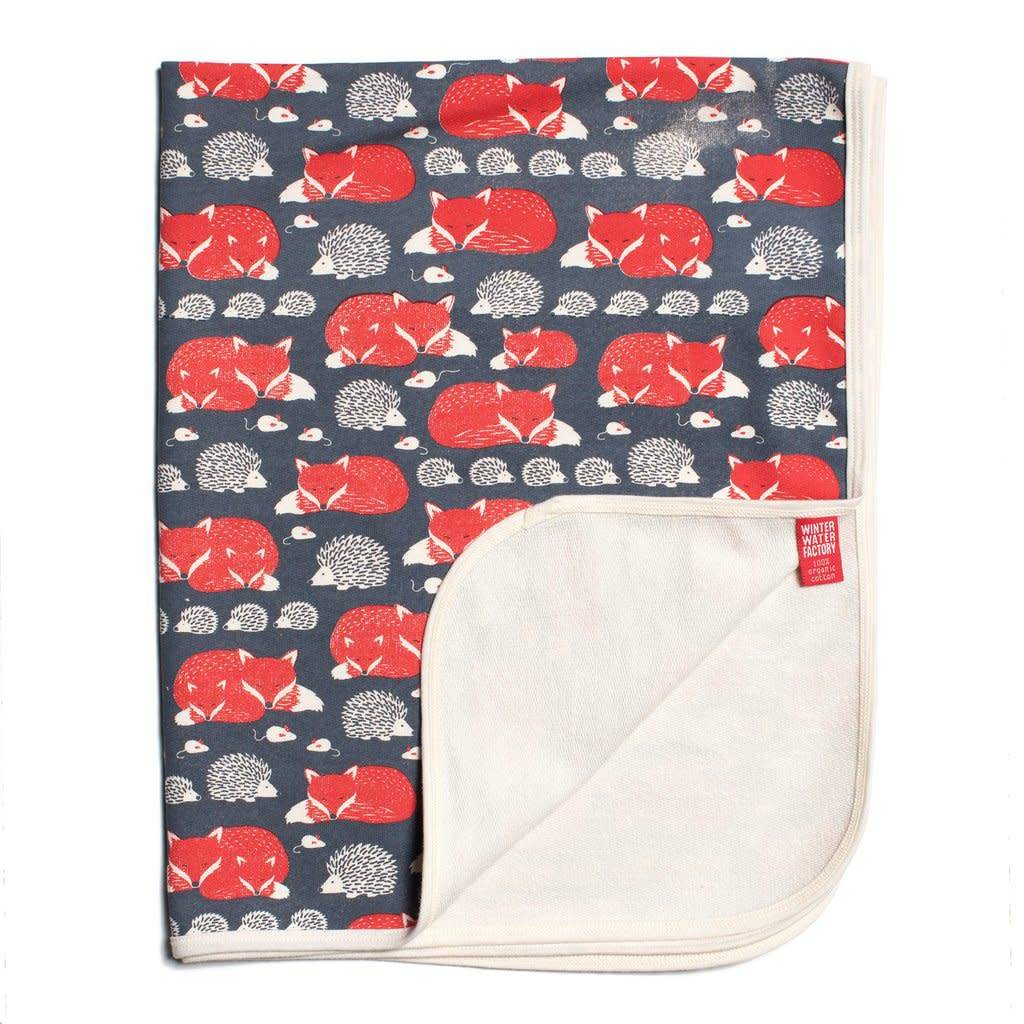 Winter Water Factory French Terry Blanket Foxes & Hedgehogs