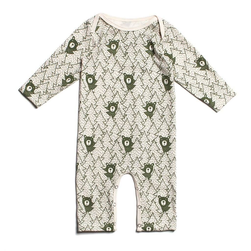 Winter Water Factory Long-Sleeve Romper Bears Forest Green