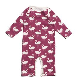 Winter Water Factory Long-Sleeve Romper Swans Bordeaux