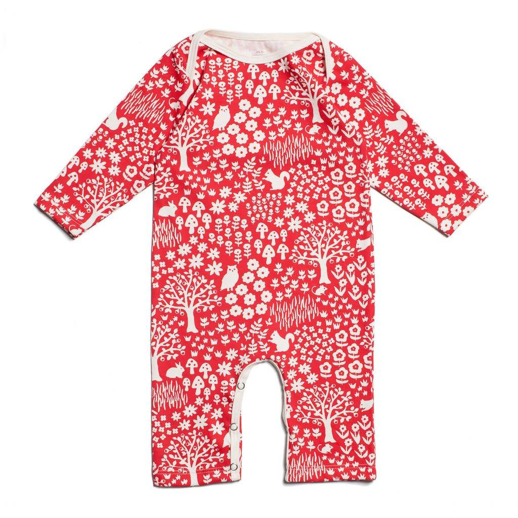 Winter Water Factory Long-Sleeve Romper Woodland Red