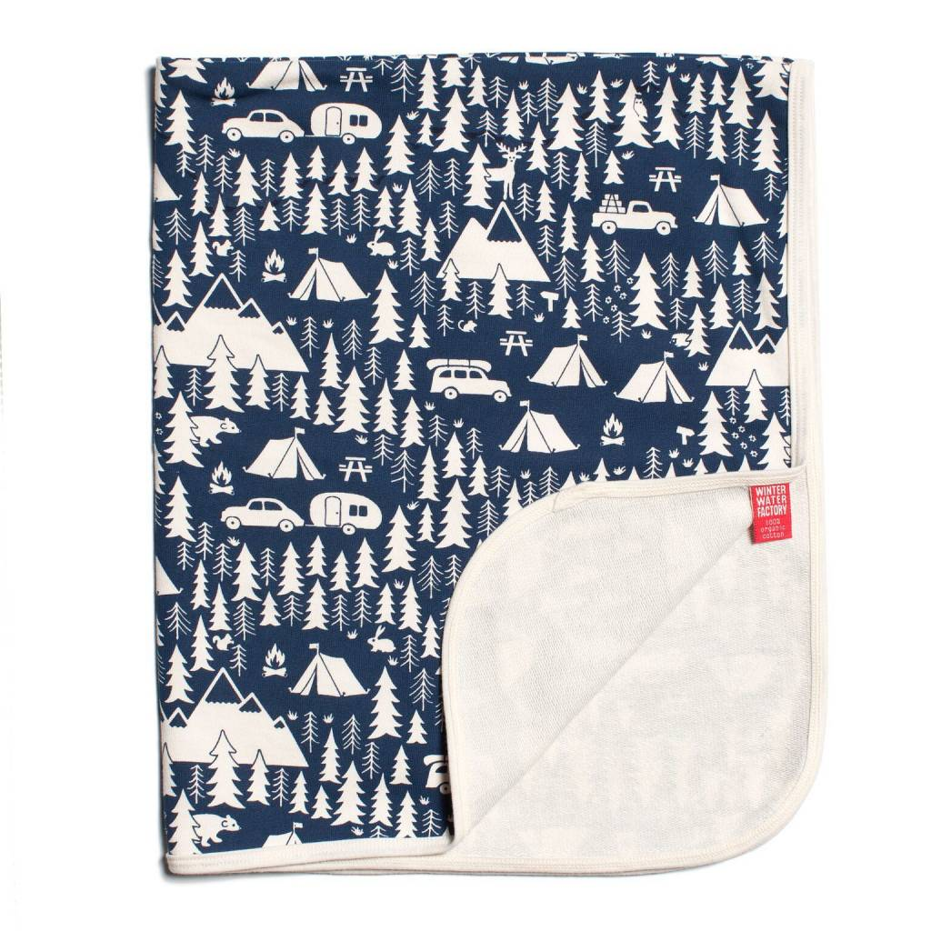 Winter Water Factory French Terry Blanket Campground Navy