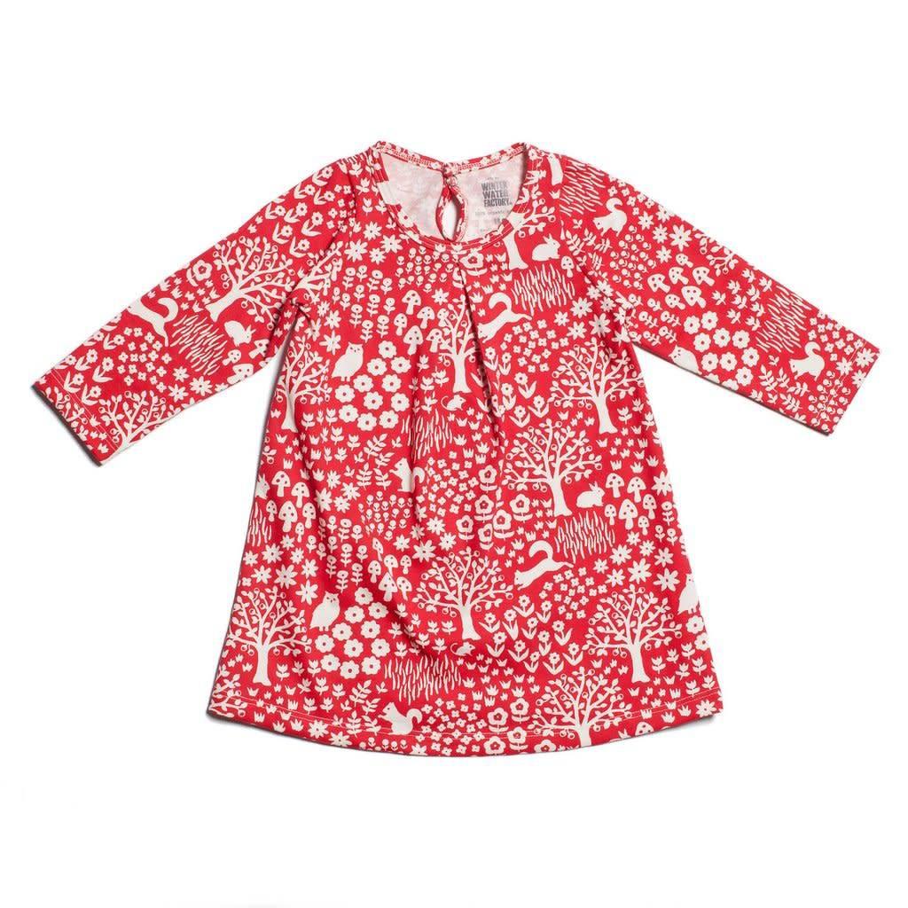 Winter Water Factory Aspen Baby Dress Woodland Red