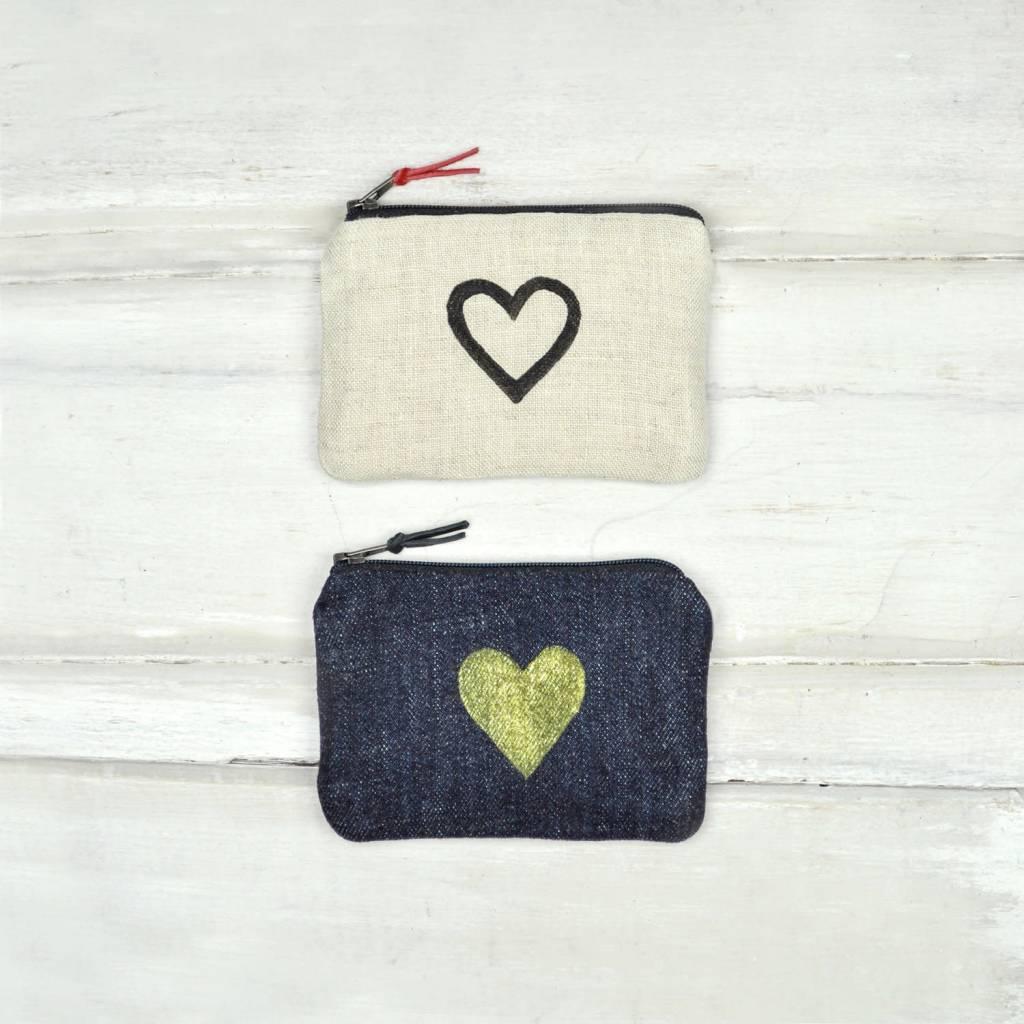 Gray Green Goods Blockprint Coin Purse Black Denim W/ Gold Heart