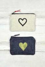 Gray Green Goods Blockprint Coin Purse Natural Linen W/ Black Heart