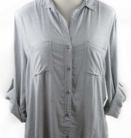 Side Stitch Button Back Button Down Grey
