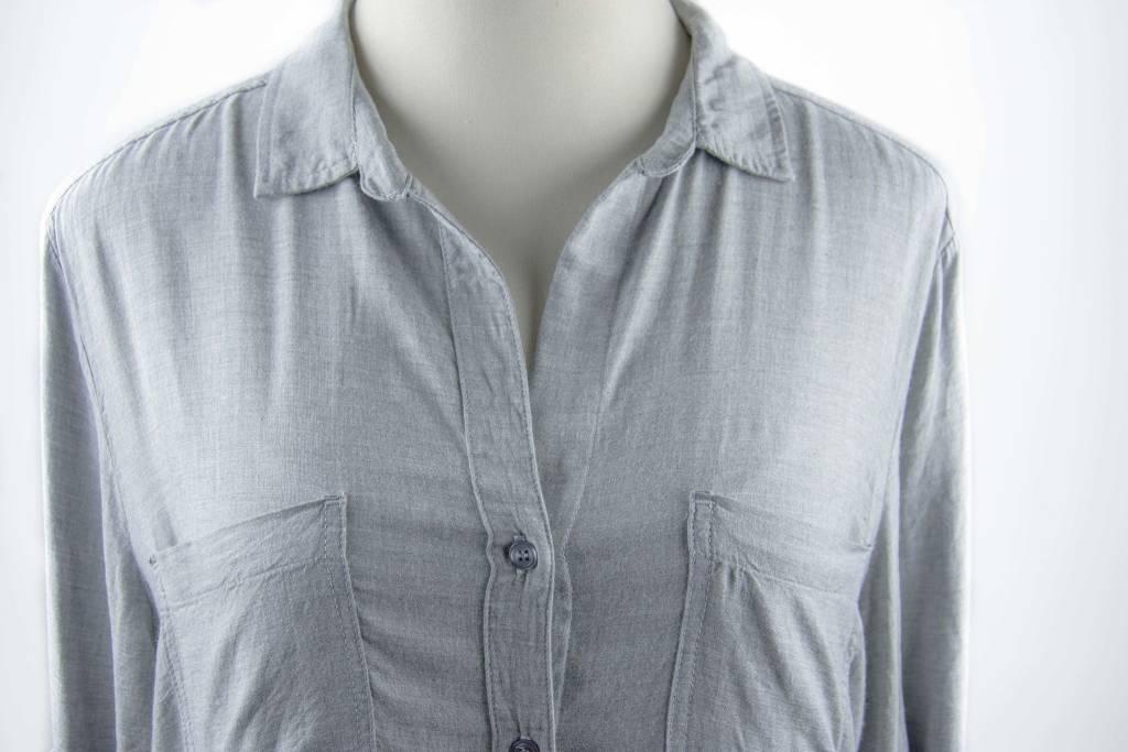 Side Stitch Button Back Button Down Grey