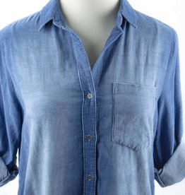 Side Stitch One Pocket Shirt Dress Blue Hills Wash